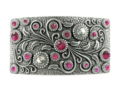 Rhinestone Crystal Belt Buckle Antique Oval Floral Engraved Buckle -Silver-Fuchsia