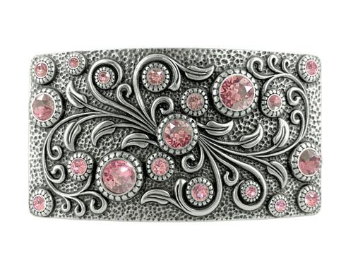 Rhinestone Crystal Belt Buckle Antique Oval Floral Engraved Buckle -Silver-Lt Rose