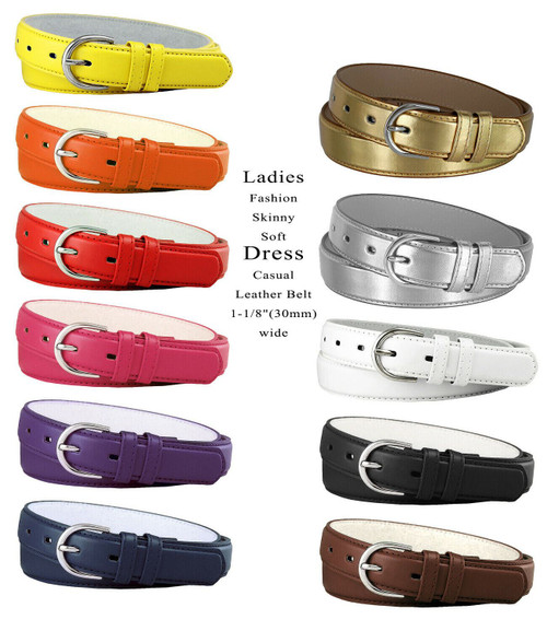 "188 Women's Belt Smooth Leather Casual Dress Skinny Belt 1-1/8""(30mm) Wide"