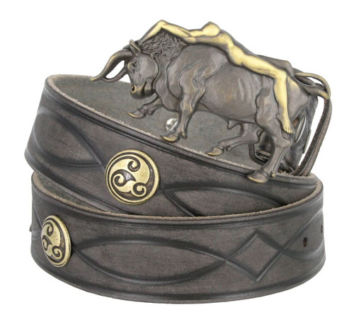 """Lady Bull Buckle Celtic Conchos Full Grain Leather Hand Tooled Engraved Gray Belt 1-1/2""""(38mm)"""