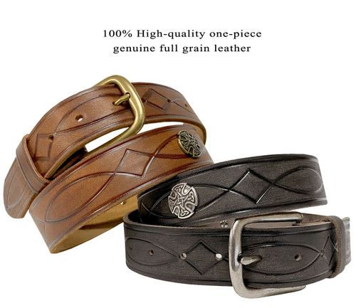 """Classic Buckle Celtic Conchos Genuine Full Grain Leather Hand Tooled Engraved Belt 1-1/2""""(38mm)"""