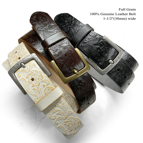 """Genuine Full Grain Western Floral Engraved Tooled Leather Casual Jean Belt 1-1/2""""(38mm) Wide"""