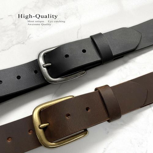 "Classic Casual Buckle Belt Genuine Full Grain Leather Casual Jean Belt 1-1/2""(38mm) Wide"