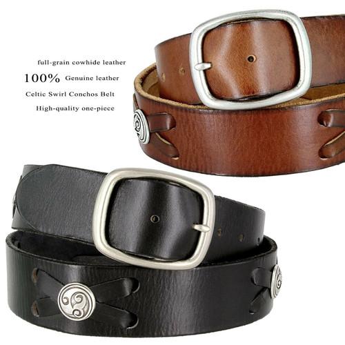 "Antique Buckle Celtic Conchos Casual Jean Belt Full Grain Leather Belt 1-3/4""(45mm) Wide"