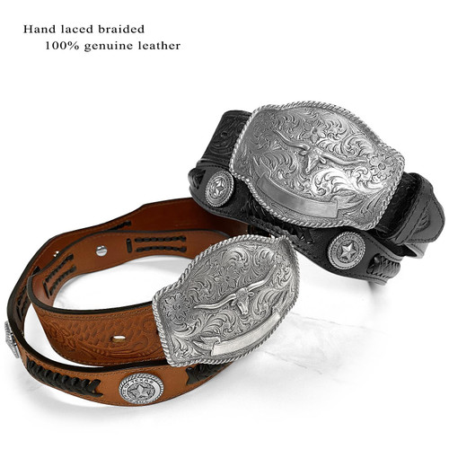 "Western Longhorn Buckle State of Texas Star Conchos Embossed Full Grain Leather Belt 1-1/2"" (38mm) Wide"