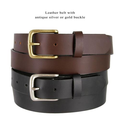 "Antique Buckle Genuine Full Grain Leather Casual Jean Belt 1-1/2""(38mm) Wide Made in U.S.A"
