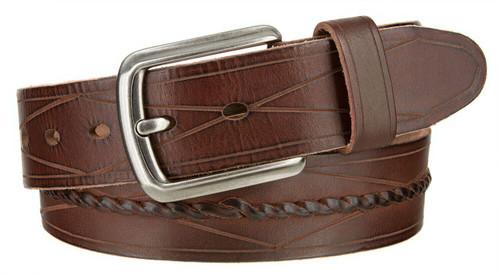 "Middle Braided Diamond Line Design Italian Genuine Full Grain Leather Casual Jean Belt 1-1/2""(38mm) Wide"