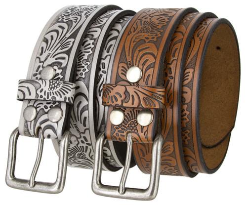 "Western Floral Engraved Embossed Tooled Genuine Leather Casual Jean Belt 1-1/2""(38mm) Wide"