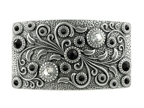 Rhinestone Crystal Belt Buckle Antique Oval Floral Engraved Buckle -Silver-Crystal Jet