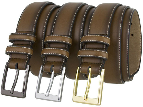 """Smooth Leather Stitched edge Casual Jean Belt 1-3/8""""(35mm) Wide"""