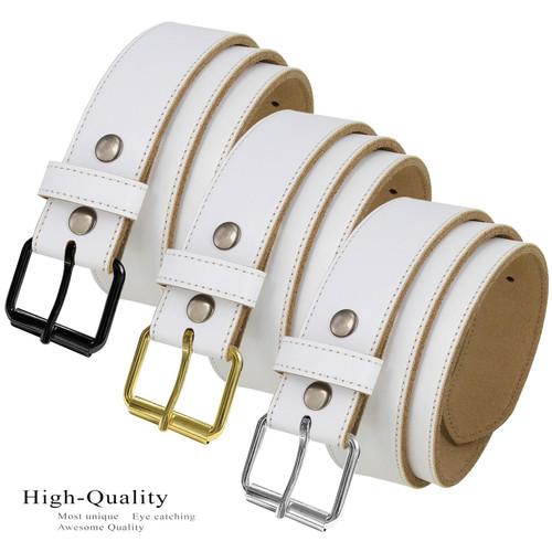 "Roller Buckle White Belt Genuine Leather Casual Jean Belt 1-1/2""(38mm) Wide"
