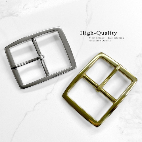 S002B Rectangle Buckle Solid Brass Buckle Center Bar Single Prong Buckle