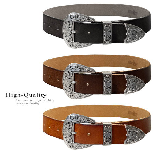 """S5359 Western Antique Floral Engraved Buckle Genuine Full Grain Leather Casual Jean Belt 1-1/2""""(38mm) Wide"""