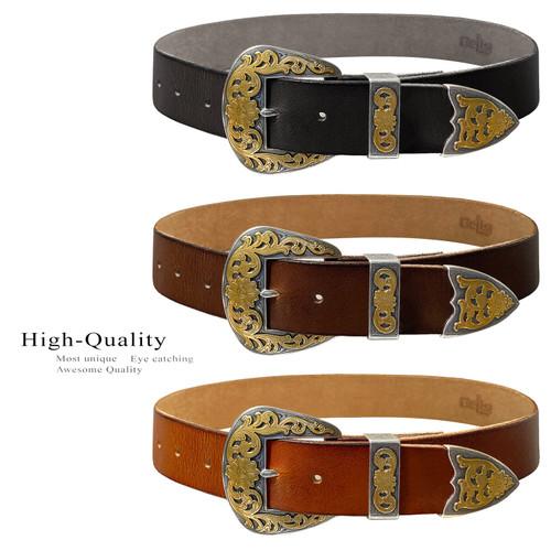 "Golden Western Antique Gold Floral Engraved Buckle Genuine Full Grain Leather Casual Jean Belt 1-1/2""(38mm) Wide"