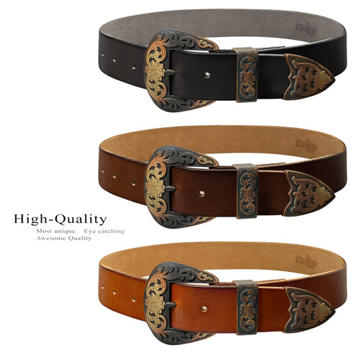 """S5359 Western Antique Brass Floral Engraved Buckle Genuine Full Grain Leather Casual Jean Belt 1-1/2""""(38mm) Wide"""