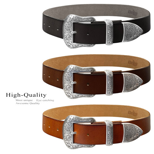 """S5732 Western Antique Floral Engraved Buckle Genuine Full Grain Leather Casual Jean Belt 1-1/2""""(38mm) Wide"""