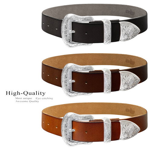 """S5732 Western Bright Silver Floral Engraved Buckle Genuine Full Grain Leather Casual Jean Belt 1-1/2""""(38mm) Wide"""