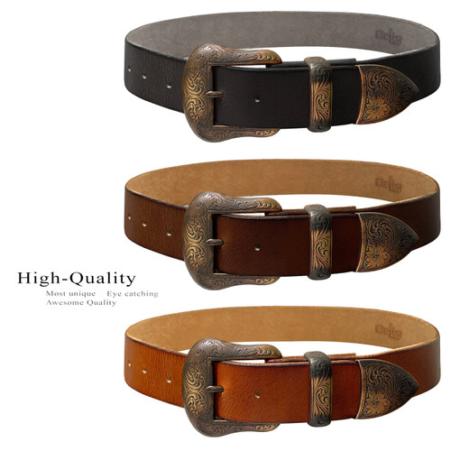 """S5732 Western Antique Brass Floral Engraved Buckle Genuine Full Grain Leather Casual Jean Belt 1-1/2""""(38mm) Wide"""