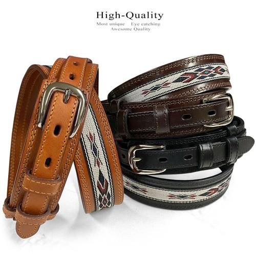 Genuine Full Grain Leather Southwestern Woven Diamond Pattern Cloth Ranger Belt
