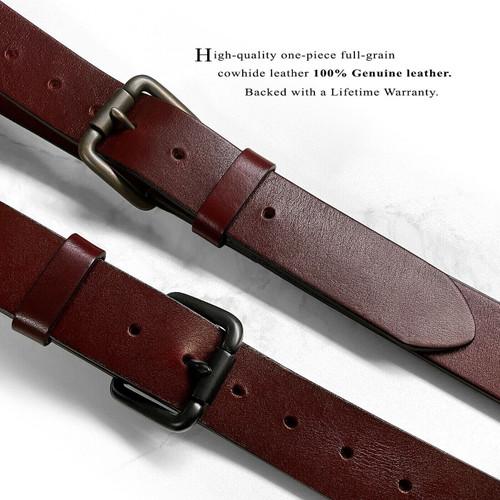 "Classic Roller Buckle Burgundy Belt Genuine Full Grain Leather Casual Jean Belt 1-1/2""(38mm) Wide"