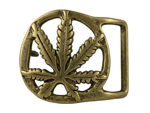 "Solid Brass Marijuana Hemp Leaf Belt Buckle Fits 1-3/4""(45mm) Wide Belt"