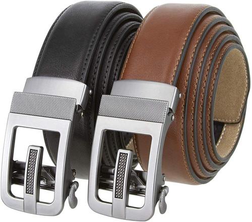 """352063 Men's Slide Ratchet Belt Leather Casual Dress Belt 1-3/8""""(35mm) Wide"""