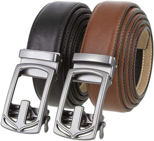 """352064 Men's Slide Ratchet Belt Leather Casual Dress Belt 1-3/8""""(35mm) Wide"""