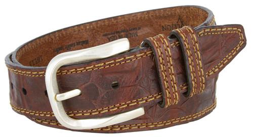 "Lejon Made in USA Belt Alligator Pattern Texture Antique Silver Buckle Belt 1-1/2""(38mm) Wide"