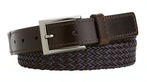"""Lejon Made in USA Belt Men's Casual Woven Braided Polyester Leather Belt 1-1/4""""(32mm) Wide"""