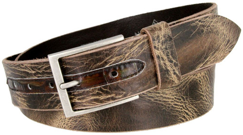 """Lejon Made in USA Belt Distressed Style Italian Saddle Leather Casual Jean Belt 1-1/2""""(38mm) Wide"""