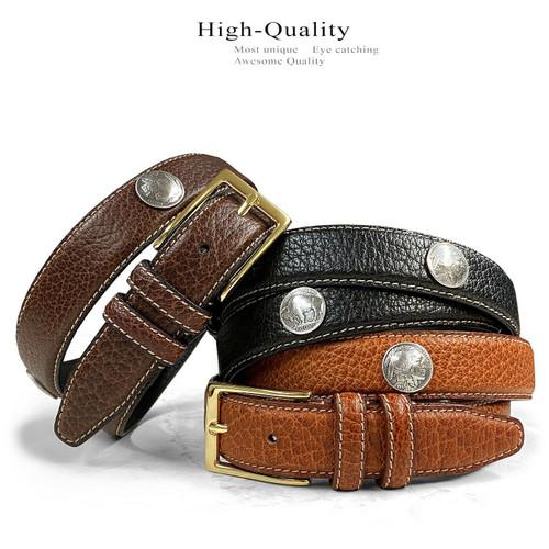 """Men's Conchos Bison Belt Genuine Leather Casual Dress Belt 1-1/8""""(30mm) Wide"""