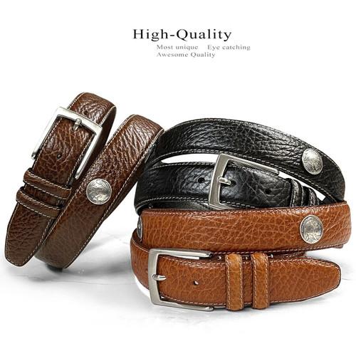 """Men's Conchos Bison Belt Genuine Leather Casual Dress Belt 1-3/8""""(35mm) Wide"""