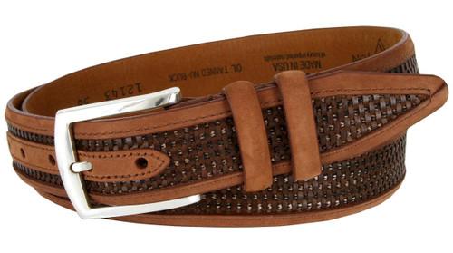 "12143 Lejon Made in USA Belt Nubuck Stitched Edges Crossweaved Leather Casual Dress Belt 1-3/8""(35mm) Wide"