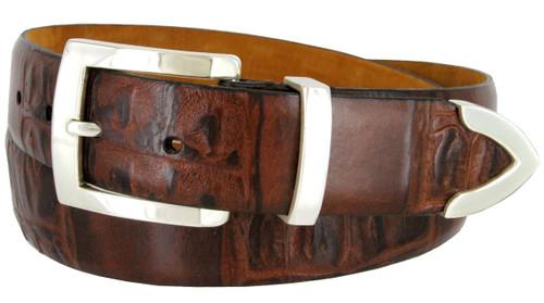 """Lejon Made in USA Belt Crocodile Embossed Italian Leather Casual Dress Belt 1-3/8""""(35mm) Wide"""
