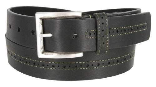 """Lejon Made in USA Belt Center Stitched Perforated Oil Tanned Harness Leather Casual Belt 1-3/8""""(35mm) Wide"""