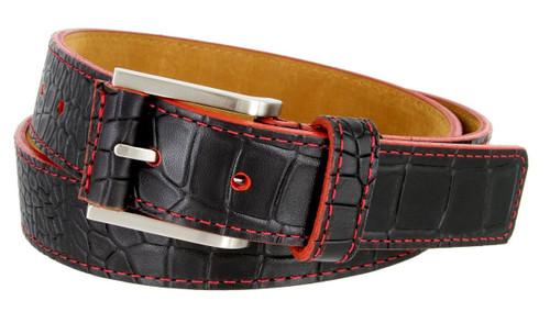 "Lejon Made in USA Belt Alligator Embossed Italian Leather Casual Dress Belt 1-3/8""(35mm) Wide"