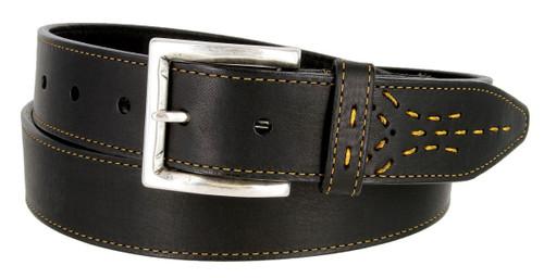 "Lejon Made in USA Belt Oil Tanned Harness Leather Casual Jean Belt 1-3/8""(35mm) Wide"