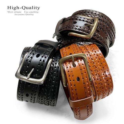 "Hand-Braided Genuine Full Grain Leather Casual Jean Belt 1-1/2""(38mm) Wide"