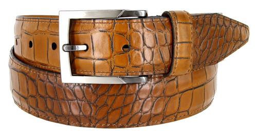 "Lejon Made in USA Belt Alligator Embossed Italian Calfskin Casual Dress Belt 1-3/8""(35mm) Wide"