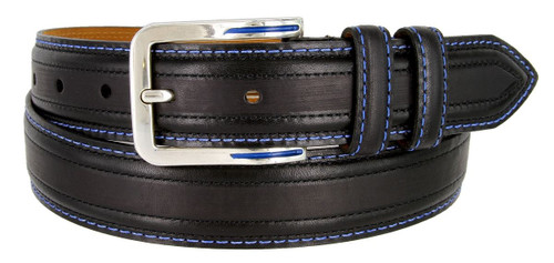 """Lejon Made in USA Belt Glove Leather Double Stitched Edges Casual Jean Belt 1-3/8""""(35mm) Wide"""