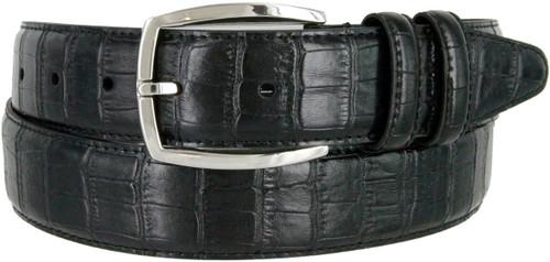 "Lejon Made in USA Belt Alligator Embossed Italian Calfskin Leather Dress Casual Belt 1-3/8""(35mm) Wide"