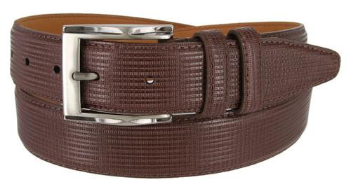 "Lejon Made in USA Belt Genuine Embossed Leather Casual Dress Belt 1-3/8""(35mm) Wide"