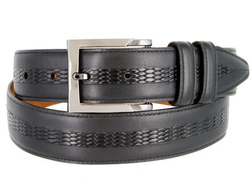 """Lejon Made in USA Belt Full Grain Waxy Glove Leather Casual Dress Belt 1-3/8""""(35mm) Wide"""