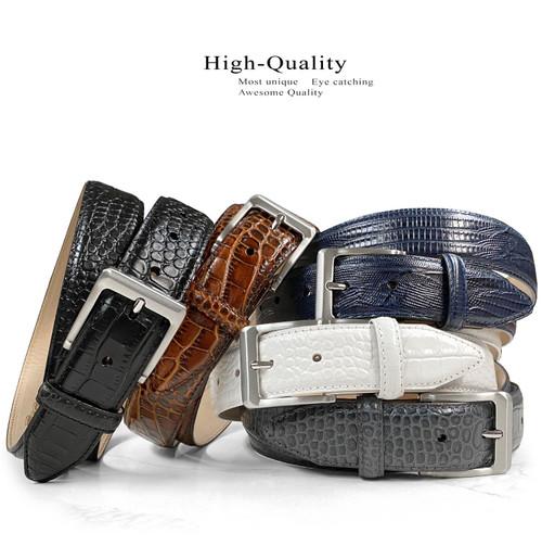 "Grove Men's Dress Belt Italian Calfskin Genuine Leather Casual Belt 1-3/8""(35mm) Wide"