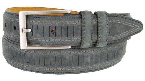 "Lejon Made in USA Belt Brookline Italian Brushed Leather Casual Dress Belt 1-3/8""(35mm) Wide"
