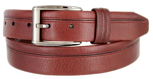 """Lejon Made in USA Men's Dress Belt Harvard Full Grain Waxy Glove Leather Belt 1-3/8""""(35mm) Wide"""