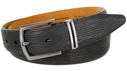 "Lejon Made in USA Belt Natural Tree Embossed Genuine Italian Leather Dress Belt 1-3/8""(35mm) Wide"