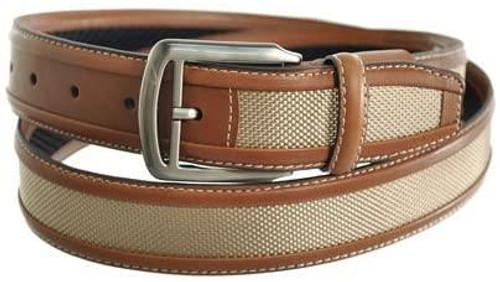 "Nike Belt Nike Ballistic Weave Brown with Khaki Nylon Stripe Golf Casual Belt 1-3/8""(35mm) Wide"