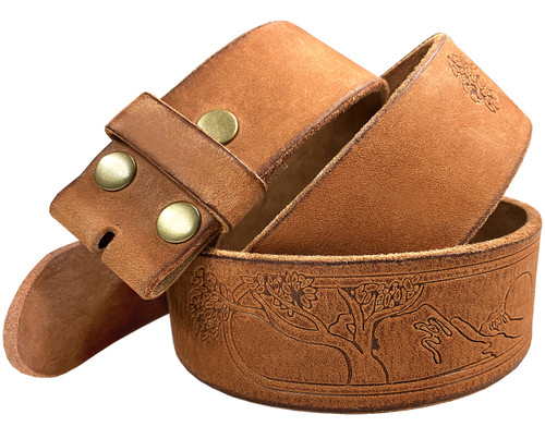 "Tree of Life Embossed Casual Jean Belt Genuine Full Grain Leather Belt Strap 1-1/2""(38mm) Wide"