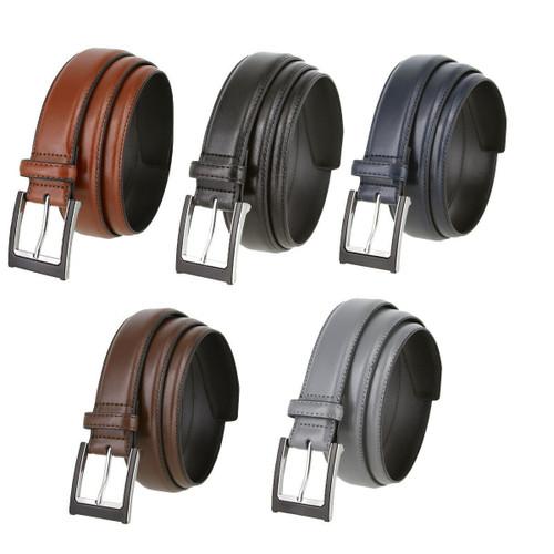 "351184 Men's Classic Buckle Genuine Leather Dress Casual Belt 1-3/8""(35mm) Wide"